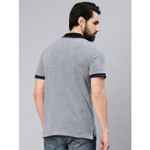 American Crew Men Grey Solid Polo Collar T-shirt