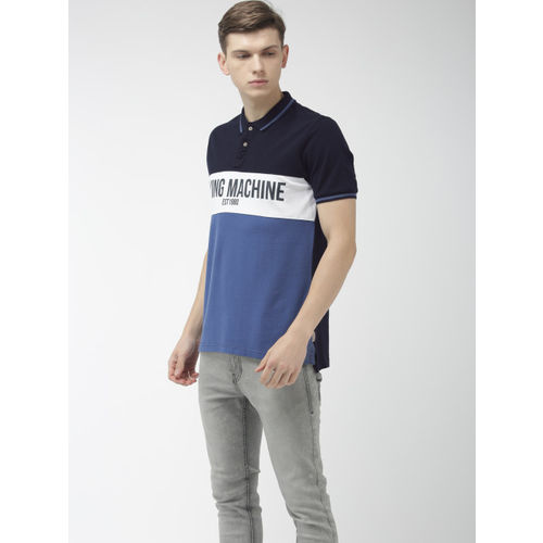 Flying Machine Men Blue & White Colourblock Polo Collar T-shirt