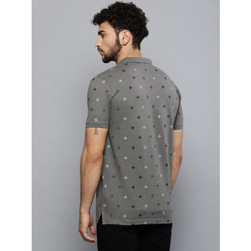 Louis Philippe Jeans Men Grey Printed Polo Collar T-shirt