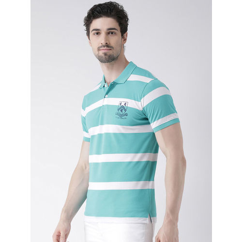 Club York Men Green Striped Polo Collar T-shirt
