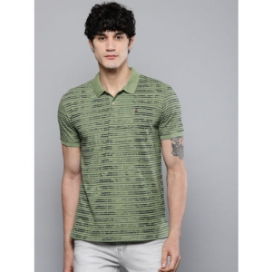 Louis Philippe Jeans Men Olive Green & Black Striped Polo Collar T-shirt