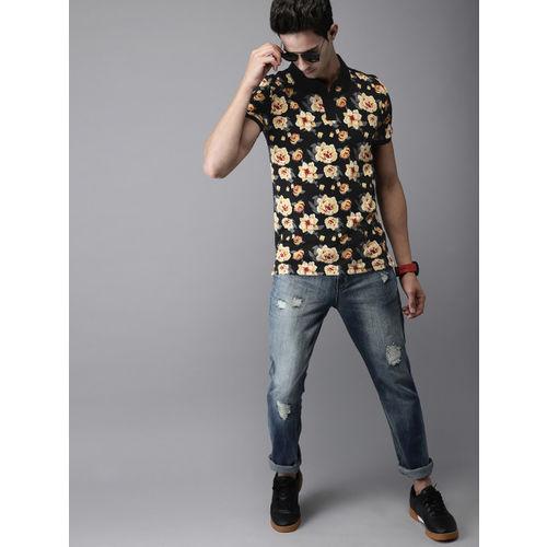 Moda Rapido Men Black & Yellow Printed Polo Collar T-shirt