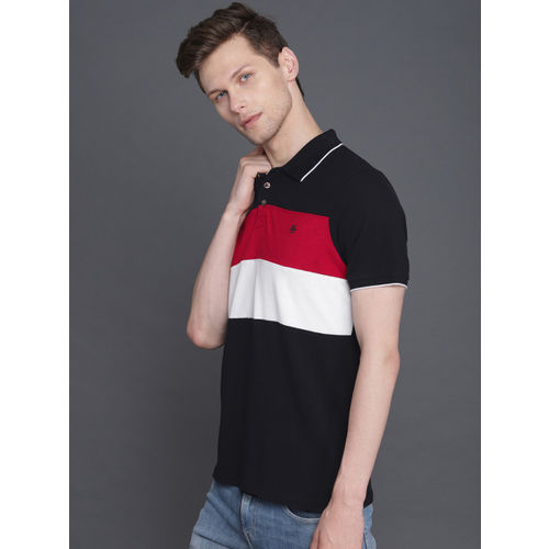 WROGN Men Black & White Colourblocked Slim Fit Polo Collar T-shirt