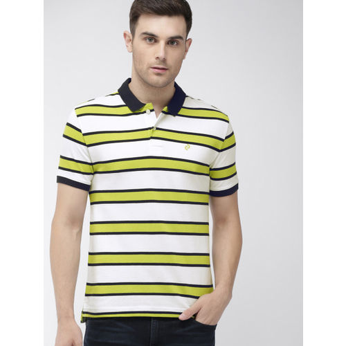 Denizen From Levis Men White & Green Striped Polo Collar T-shirt