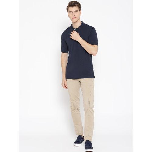 HARBORNBAY Men Navy Blue Solid Polo Collar T-shirt