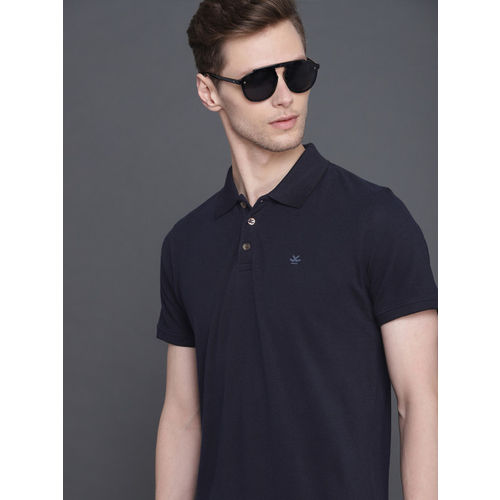 WROGN Men Navy Blue Solid Slim Fit Polo Collar T-shirt