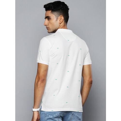 Louis Philippe Jeans Men White Printed Polo Collar T-shirt