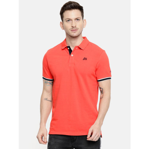 Being Human Clothing Men Coral Solid Polo Collar T-shirt