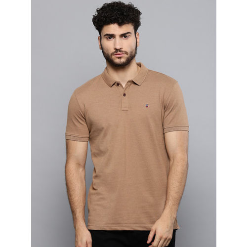 Louis Philippe Sport Men Brown Solid Polo Collar T-shirt