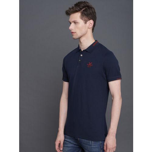 WROGN Men Navy Blue Solid Polo Collar T-shirt