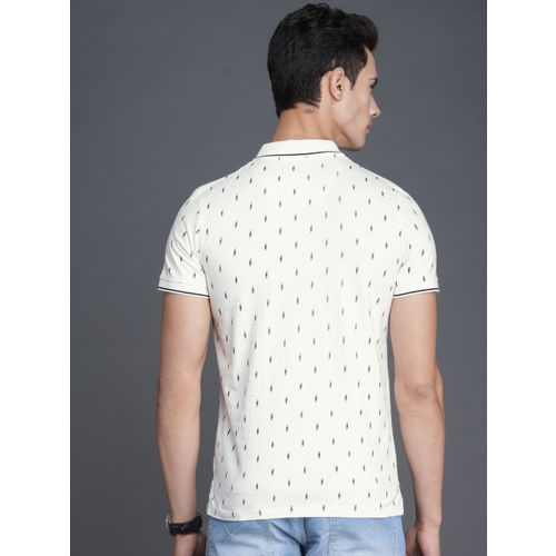WROGN Men Off-White Printed Polo Collar T-shirt