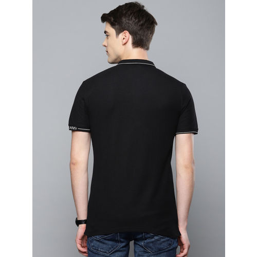 Louis Philippe Jeans Men Black Solid Polo Collar T-shirt