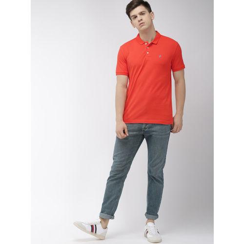 Denizen From Levis Men Coral Orange Solid Polo Collar T-shirt