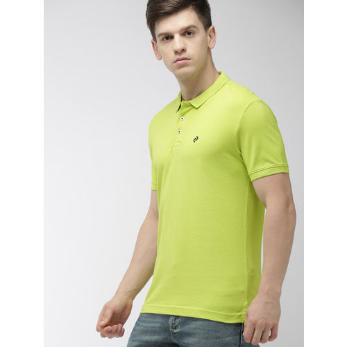 Denizen From Levis Levis Men Lime Green Solid Regular Fit Polo Collar T-shirt