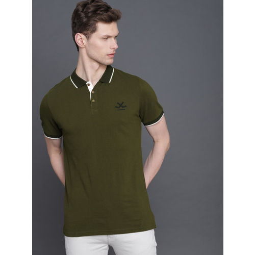 WROGN Men Olive Green Solid Polo Collar T-shirt