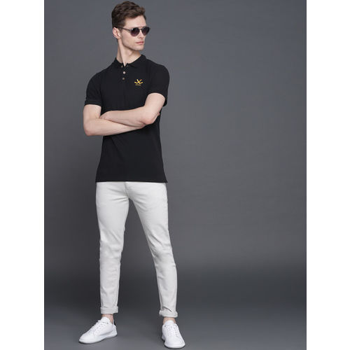 WROGN Men Black Solid Polo Collar T-shirt