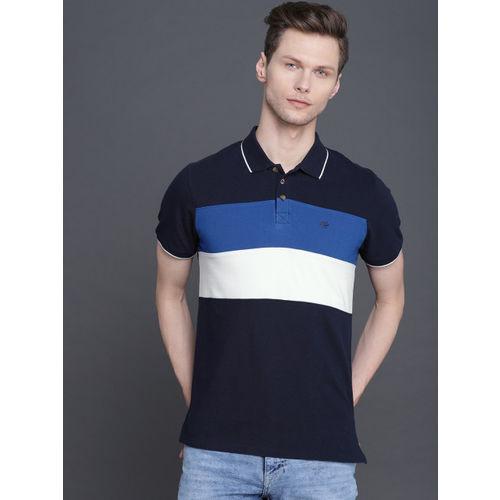 WROGN Men Navy Blue & White Colourblock Polo Collar T-shirt