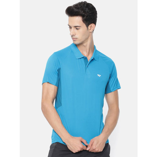 Wildcraft Men Blue Solid Polo Collar T-shirt