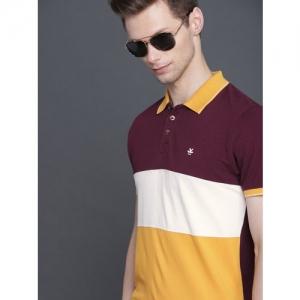 WROGN Men Maroon & Mustard Yellow Colourblocked Slim Fit Polo Collar T-shirt