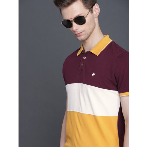 WROGN Men Maroon & Mustard Yellow Colourblocked Slim Fit Polo Collar T-shirt