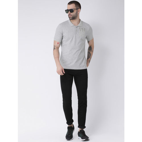 Rex Straut Jeans Men Grey Solid Polo Collar T-shirt