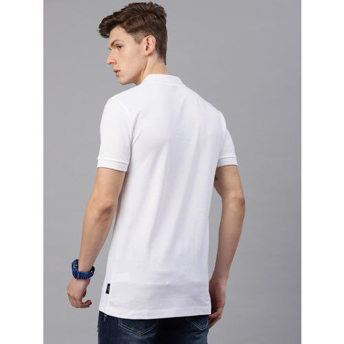 French Connection Men White Printed Slim Fit Polo Collar T-shirt