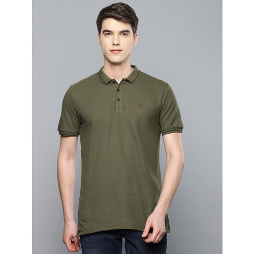 Louis Philippe Jeans Men Olive Green Solid Polo Collar T-shirt