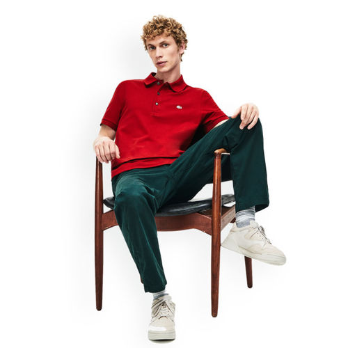 Lacoste Men Red Solid Polo Collar T-shirt