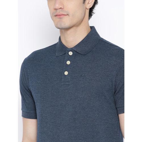 Chkokko Men Navy Blue Solid Polo Collar T-shirt
