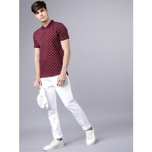 HIGHLANDER Men Maroon Printed Polo Collar T-shirt