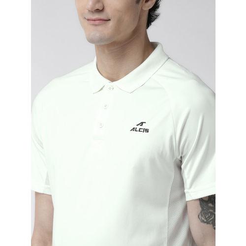 Alcis Men Off-White Solid Polo Collar Cricket T-shirt
