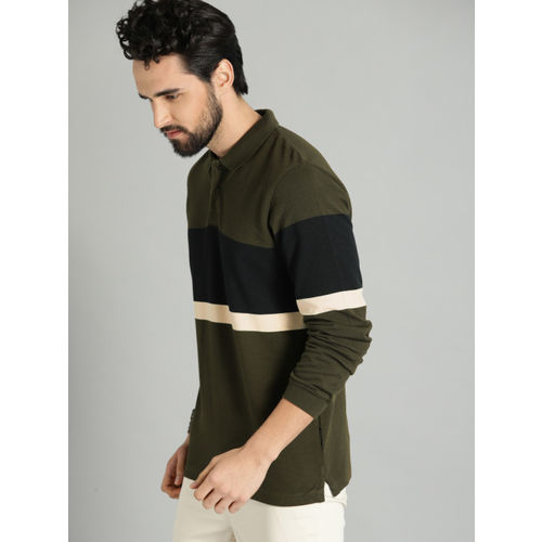 Roadster Men Olive Green & Navy Blue Colourblocked Polo T-shirt