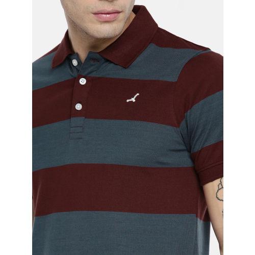 American Crew Men Navy Blue Striped Polo Collar T-shirt