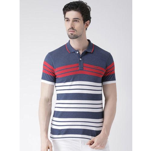 Club York Men Blue Striped Polo Collar T-shirt