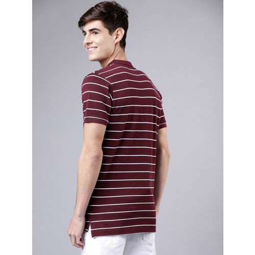 HIGHLANDER Men Maroon & White Striped Polo Collar T-shirt