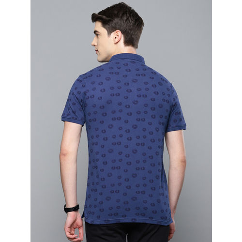 Louis Philippe Sport Men Blue Printed Polo Collar T-shirt