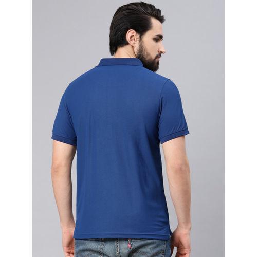 American Crew Men Navy Blue Solid Polo Collar T-shirt