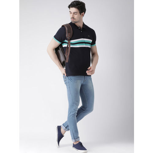 Club York Men Navy Blue Striped Polo Collar T-shirt