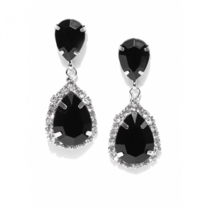 OOMPH Black Silver-Plated Handcrafted CZ Stone-Studded Teardrop Shaped Drop Earrings