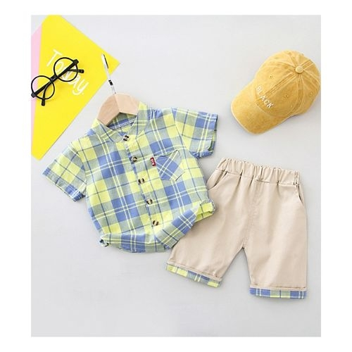 Pre Order - Awabox Checked Half Sleeves Shirt & Shorts Set - Yellow