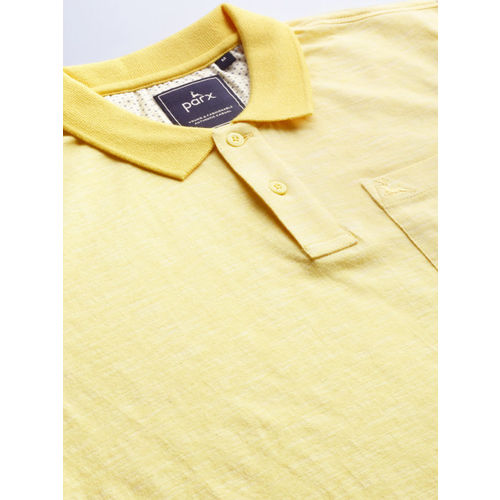 Parx Men Yellow Solid Polo Collar T-shirt