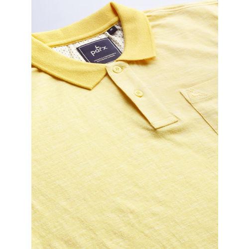 Parx Men Yellow Solid Polo Collar T-shirt