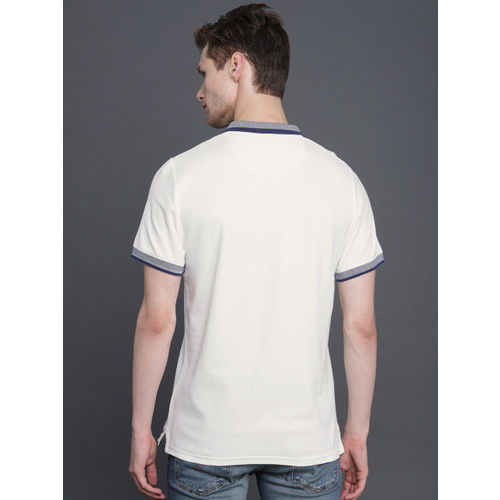 WROGN Men Off-White Solid Slim Fit Polo Collar T-shirt
