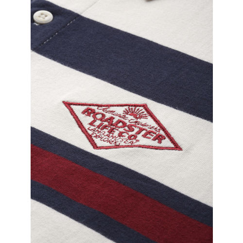 Roadster Men White & Navy Blue Striped Polo T-shirt
