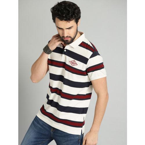 Roadster Men White & Navy Blue Striped Polo T-shirt
