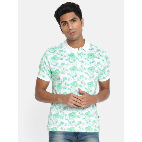 Parx Men White Printed Polo Collar T-shirt