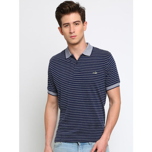 Crocodile Men Navy Blue & White Striped Polo Collar T-shirt