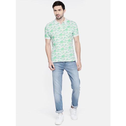 Parx Men White & Green Printed Polo Collar T-shirt