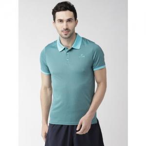 Alcis Men Green & Black Self Design Polo Collar T-shirt