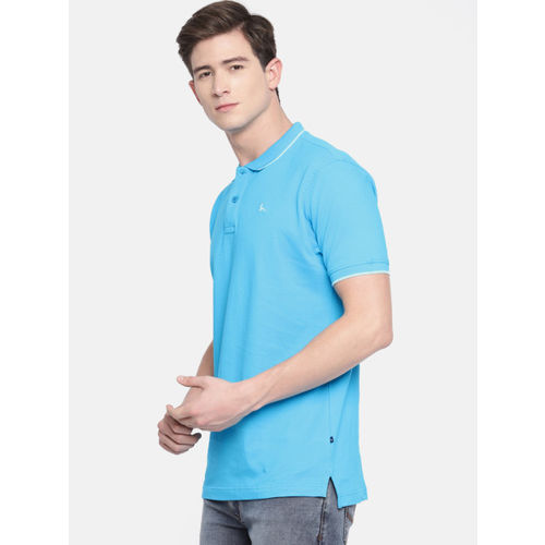 Parx Men Blue Solid Polo Collar T-shirt